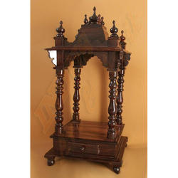 Wooden Brown Hand Carved Temple, Size: 2 feet