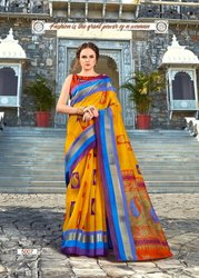 Silk Party Wear Chanderi Cotton Printed Sarees, 6.3 m (with blouse piece), 0.80