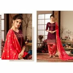 Cotton Party Wear Ladies Embroidered Unstitched Suit