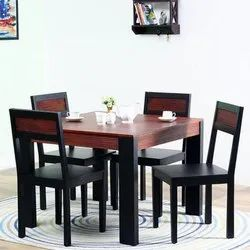 Wooden Acacia Wood Four Seater Dining Table Set, Size: 39x39x39 Inch