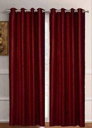 Cotton Red Plain Door Curtain