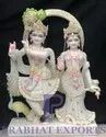 Marble Radha Krishna Statue With Gold Plated Base