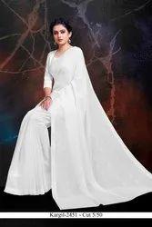 Formal Wear PLAIN WHITE BRASSO CHIFFON SAREE, 5.5 m (separate blouse piece)