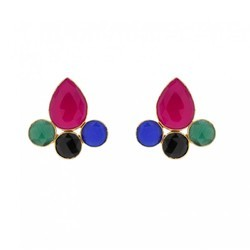 Multi Colour Beautiful Gorgeous Style Handmade Gemstone Gold Plated Earring