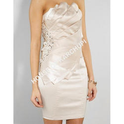 Light Pink Silk Embroidered Mini Dress, Size: Large