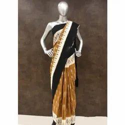 Black and Yellow Ikat Handloom Saree