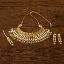 Engagement Wear Female Kundan Classic Necklace Set With Gold Plating 350073