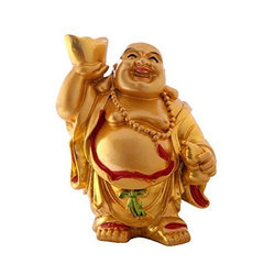 Golden and Red Laughing Buddha Statue