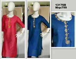 Zari Embroidered Cotton silk festive Casual Kurti
