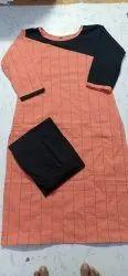 Cotton Party Wear Ladies kurti with plazzo fabric, Wash Care: Machine wash