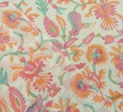 Floral Hand Block Gad Print Multi Color Cotton Fabric