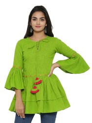 Green Yash Gallery Women''s Cotton Slub Embroidered Top