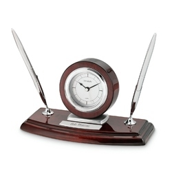 Double Pen Stand Silver Wooden Clock