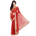 Chiffon Fancy Red Bandhani Saree