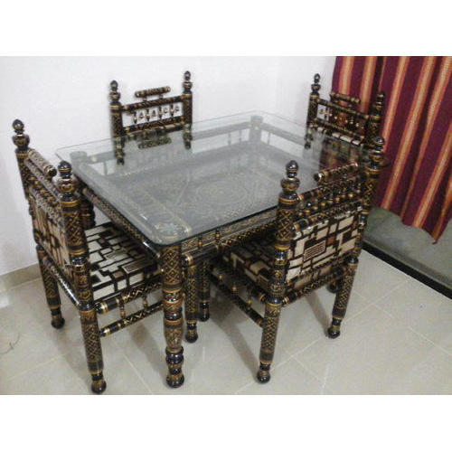 Wooden Glass Mirror Top Antique Dining Table Rs 30000 Set Sankheda Furniture Id 20334446873