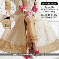 Silk Stripe Pant, Waist Size: 26, 28 & 30