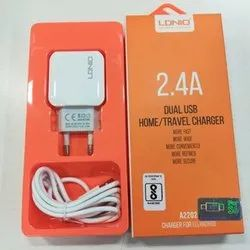 White LDNIO Dual USB Travel Charger, for Mobile Charging