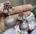 Antique Silver Finish Bird Earrings With Jhumka