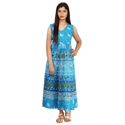 Cotton Printed Women  s A-Line One Piece Midi Dress b6af39cfe