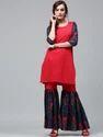 Stitched Red Kurta & Blue Sharara Sharara Kurta Set