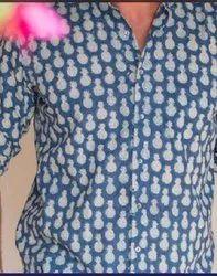 Organic Cotton Block Printed Men Shirts, Size: Medium