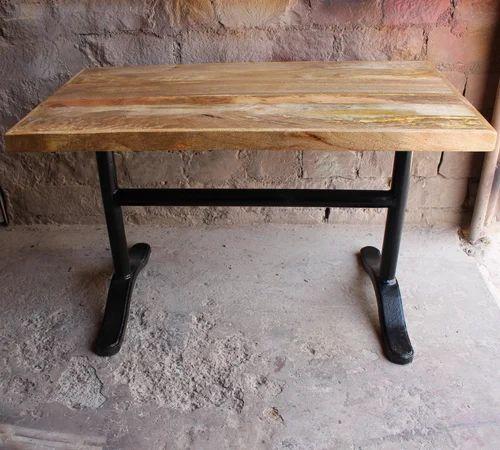 Vintage Wrought Cast Iron Mango Wood Dining Table