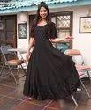 Half Sleeve Designer Rayon Gown