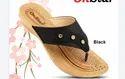 On Star Pu Ladies Designer Black Daily Wear Slipper, Size: 5x9