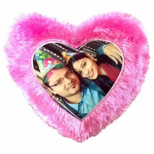 Heart Shape Pink Fur Pillow