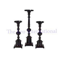 Wooden Pillar set of 3 Candle Holder black color