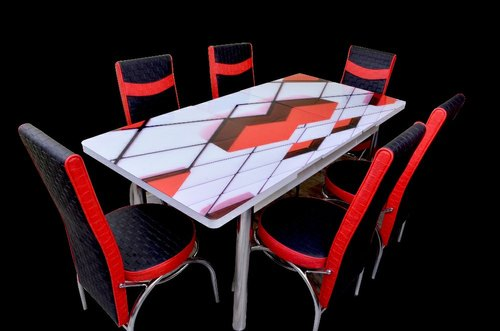 Loyal Furn Red Black Cube Seater Glass Top Extendable Glass Top Dining Table