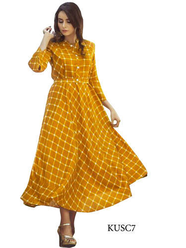 Cotton Mustard Yellow Color Kurti Size Xl Rs 1535 Piece Id