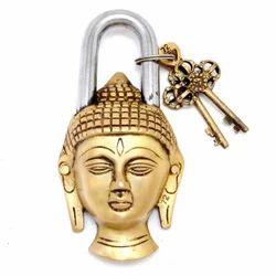 Home Decor Locks Symbolic Buddha Hand Crafted Antique Padlock With Keys