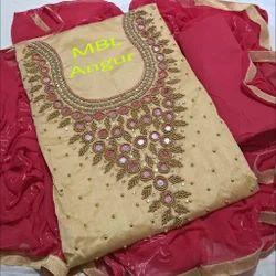 Female Casual Wear CHANDERI SILK DRESS MATERIALS