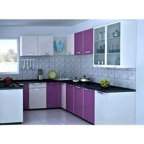 Purple And White Modern Modular Kitchen
