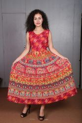 Female Multicolor Rajasthani Cotton Dress Full Length