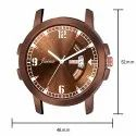 Jainx Brown Mesh Band Day and Date Function Analog Watch for Men's - JM373