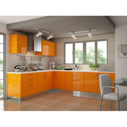 SS Colored Modular Kitchen