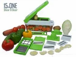ABS Plastic Green KitchFlora 15in1 Multifunction Vegetables and Fruits Slicer & Dicer for Home Use