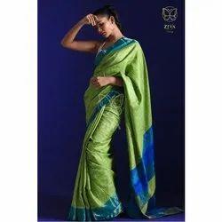 Green Pure Handwoven Tussar Silk Saree