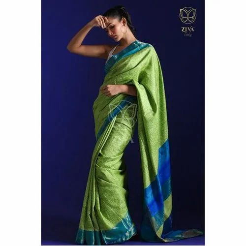 Exquisite Hand Woven and Hand Block Printed Green Pure Handwoven Tussar Silk Saree, 5.5 metres