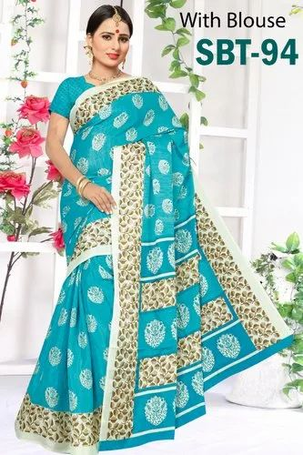7551c51464 Multicolor Printed Soft Light Weight Silk Saree with Blouse Piece, Length:  6.3 m