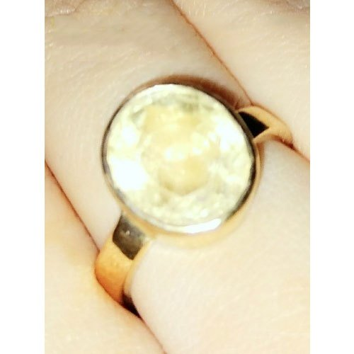 Natural Golden Topaz in Gold Plated Ring