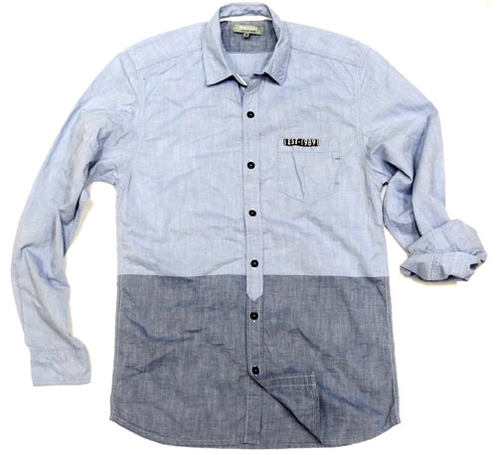 8f24117b033 Light Blue And Grey Plain Men Full Sleeve Shirt