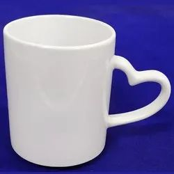 White Heart Handle Sublimation Mug