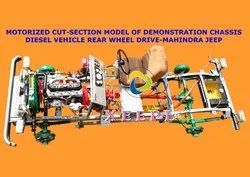 Cut Section Model of Mahindra Jeep Chassis With Electrical System Working Model