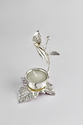 Silver Plated Candle Stand Leaf Design