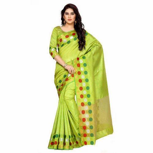 ec6d42a188f378 Lime Green Casual Mimosa By Kupinda Women  s Tussar Silk Saree Kanjivaram  Style