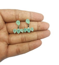 Aqua Chalcedony Climber Earrings