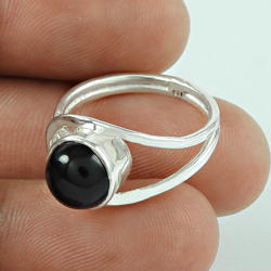 Gleaming Black Onyx 925 Sterling Silver Ring